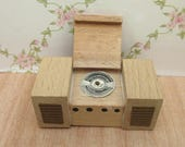 Vintage DolToi Wooden Dolls House Record Player Unit with Lifting Lid