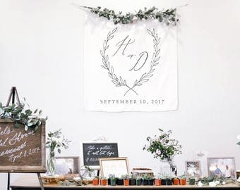 Predesigned Calligraphy Fabric Banner // Botanical Wreath Crest Banner