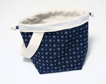 Flower indigo print - Small drawstring bag