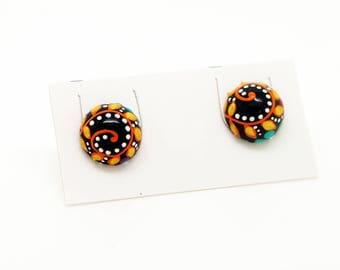 10MM Handpainted Wood Flower Earrings, Flower Jewelry, Wearable Art FREE SHIPPING