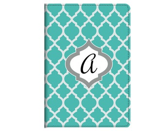 Trendy Teal Moroccan Monogram Journal Composition Notebook Diary