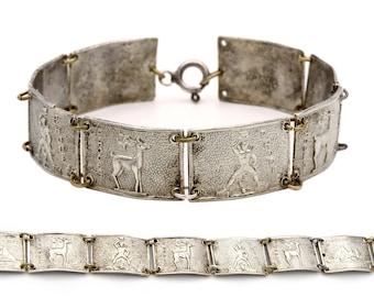 Greek Islands Bracelet, Antique 1920 Jewelry, 1000 Silver Bracelet, Pontikonissi Corfu Islet, Rhodes Island, Colossus of Rhodes, Fallow Deer