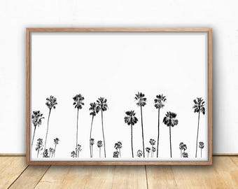 Palm Trees Print Black and White, Large Poster Download, Printable Photography, Modern Minimalist Wall Art, California Poster Print