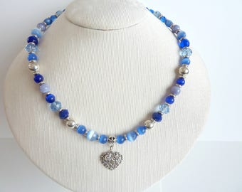 Necklace Crystal and blue beads