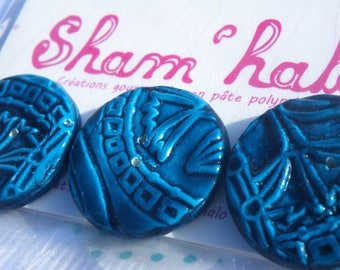 Papyrus blue buttons - polymer