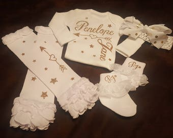Baby Girl, Coming Home,  Going Home,  Baby Shower, Personalized Onesie with Arrow/Heart with Matching Leg Warmers, Socks and Bow