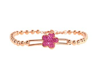 Pink Elegant Yellow Gold Plated 925 Sterling Silver Women Jewelry Cubic Zirconia Round Bracelet