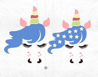 Unicorn svg, Unicorn clipart, Unicorn face svg, Unicorn eyelashes, Birthday svg, Shirt, Cricut, Cameo, Clipart, Svg, DXF, Png, Pdf, Eps