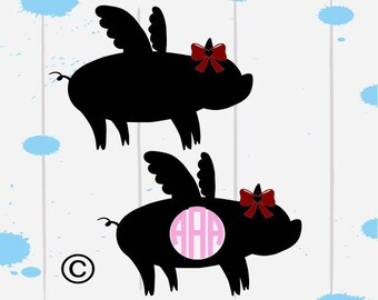 Show pig svg, Pig svg, Flying pig svg, Farm animal svg, Pig Silhouette, Monogram svg, Cricut, Cameo, Cut file, Clipart, Svg, DXF, Png Eps