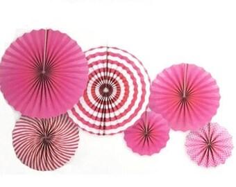 paper Pinwheel Fans. Set of 6 .pink . Pink party pinwheels.  pink party decor.  pink pinwheel fan Backdrop