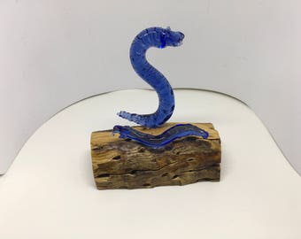 Glass snake business card holder