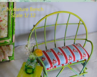 Miniature  Iron entry bench Scale 1/12, Extraordinary  bench, Dollhouse bench