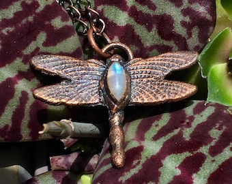 Moonstone dragonfly copper electroformed necklace - small pendant