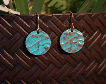 Turquoise Branch Design Embossed Earrings