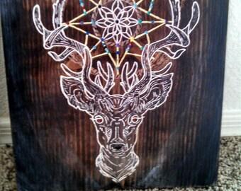 Handmade Wooden Sign: Elk Dream Catcher