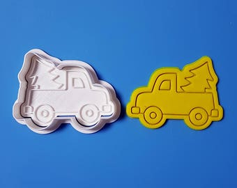 Truck Carrying Christmas Tree  Cookie Cutter and Stamp