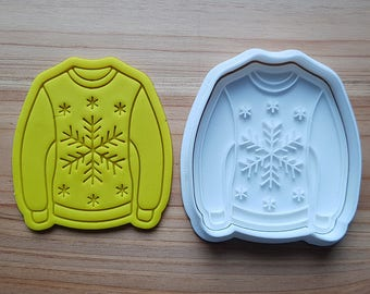 Ugly Sweater(Snowflake) Cookie Cutter and Stamp