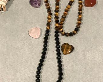 Tiger Eye, Black Onyx, Lentil Shell Beaded Mala with Buddha charm