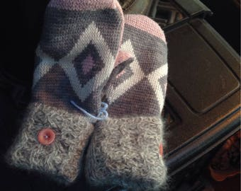 Pink and gray, soft sweater mittens, medium