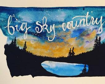 Montana big sky country state shape watercolor original painting wall art home decor