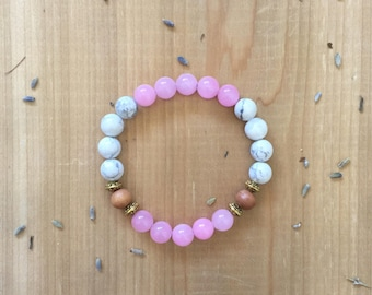 Mala Bead Bracelet | Untreated Sandalwood | Rose Quartz Beads | White Howlite Beads