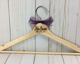 Laser engraved hanger, wedding hanger, bride hanger, personalized wood hanger