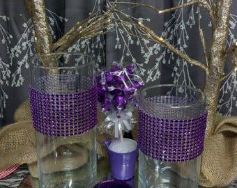 Set of 3 Rhinestone Candle Holders / Vases