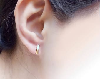 10mm Doublecolor Simple Square column Sterling Silver / 925 Silver Stud Earrings, Column (SE052)