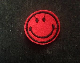 red smile face 4.5cm  Embroidered Applique Sew On/iron on   Patch  go216