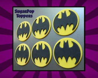 Super Hero Fondant Batman Cupcake Toppers ( Batman birthday, Justice League party, Superman cake topper, DC Super Hero Girls )