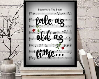 Beauty and The Beast Tale As Old As Time Sheet Music Sont Title Art Print 8x10 Wedding Anniversary Valentine's Day Gift Home Decor