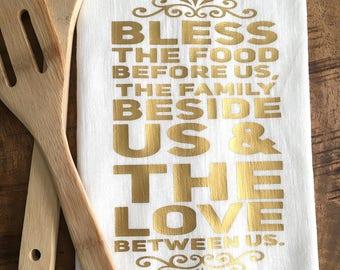 Tea Towel - Grace - Kitchen Prayer - Grace Flour Sack Towel - Scripture - Rustic Decor - Bless This Food Before Us The Family Beside Us