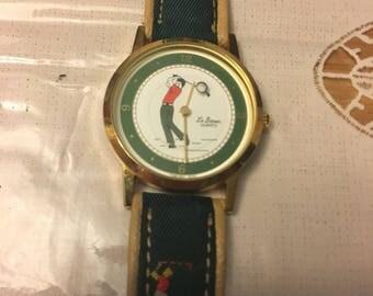 Vintage Le Baron Quartz Golf Golfer Watch ; Price Drop