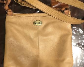 Vintage Fossil Leather Satchel Purse Handbag
