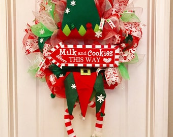 Elf wreath, christmas wreath, Christmas mas elf wreath, elf legs wreath, holiday wreath