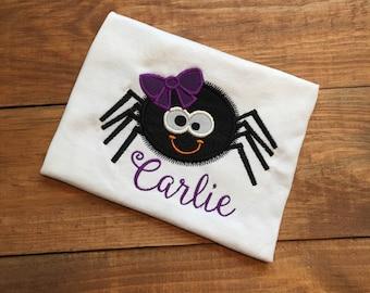 Girls spider shirt, toddler halloween shirt, girls  halloween spider shirt, girls fall shirt, girls bow spider shirt, black spider shirt