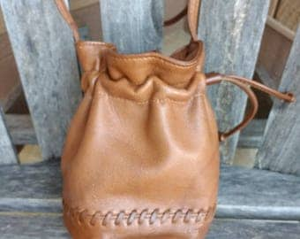 Vintage Liz Claiborne Brown Leather Handbag Small Bucket Carmel Crossbody Bag Made in USA