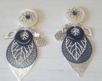 Earrings Navy Blue, beige and silver