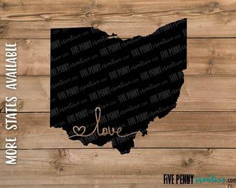Love Ohio State (SVG, PNG, EPS, Cricut, Silhouette, cutting file, vector file)  |  Ohio Home State  |  Buckeye State  |  Ohio Pride