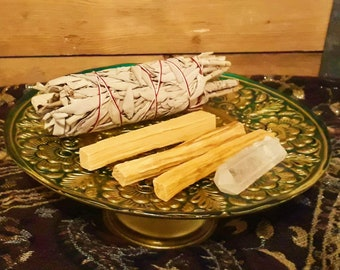 Smudging Kit, Californian White Sage + Palo Santo Wood Sticks + Clear Quartz Crystal Point - Cleansing Protection Ceremony