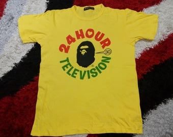 RARE!!! Vintage 90's 24 Hour Television X Bathing Ape Television Show Yellow