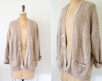 Vintage Beige Cable Knit Oversized Cardigan // Speckled Tan Button Down Sweater