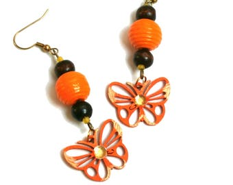 Orange Butterfly Wood Earrings, Wooden Jewelry, Handmade Earrings, Happy Boho Earrings, Eco Gift for her , Orange Dangle Earrings