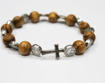 Catholic St. Benedict Bracelet with Cross Medjugorje Olive Wood
