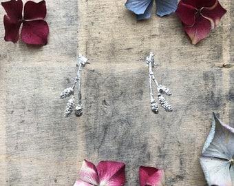 Sterling silver twig earrings, catkin earrings, flower bud stud earrings, nature earrings, botanical earrings
