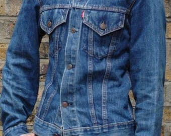 Late 1960s Levis big E trucker denim jacket in desirable small size, workwear, indigo