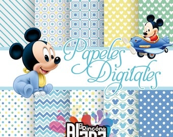10 digital papers 12 x 12 Mickey Baby + Clipart extra