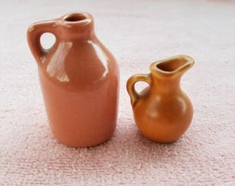 "Set Of 2 Made In England Jug & Pitcher 2.25"" And 1.75"" Tall - Good Condition"