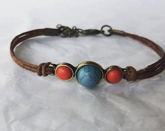 Brown linen handmade bracelet