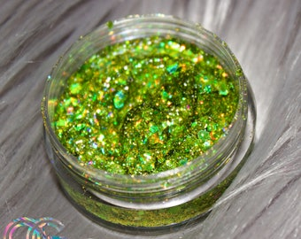 Green Mamba Glitter • Cosmetic Grade for Nail Art, Festivals • Loose Chunky Glitter or Gel Formula for Body/Face Painting • Makeup/Beauty
